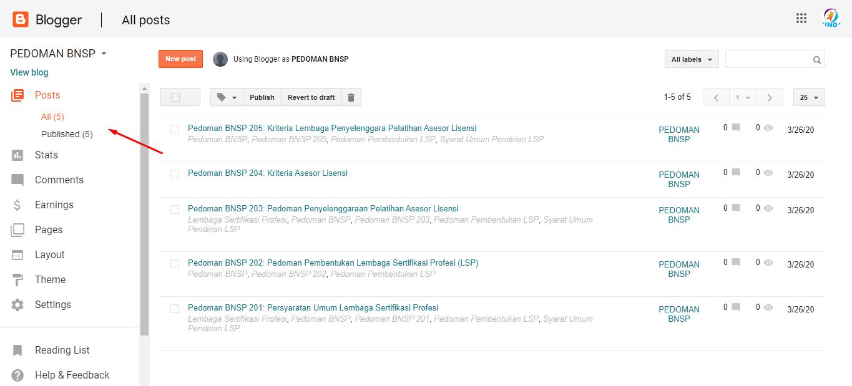 Gambar 3: Halaman Postingan di Dashboard Blogger
