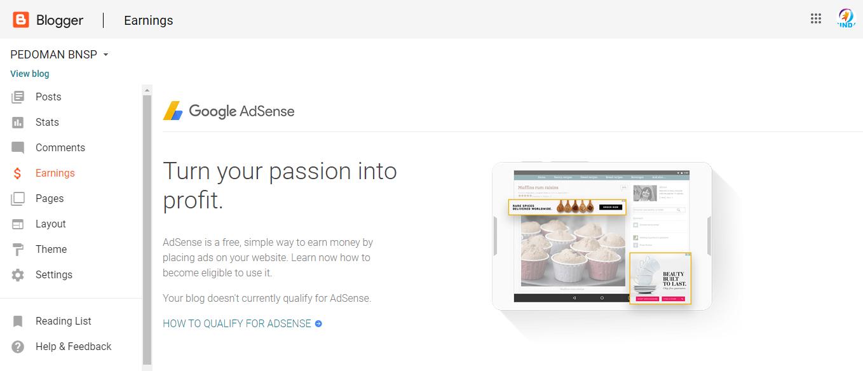 Gambar 6: Menu Earning - Mengenal Dashboard Blogger