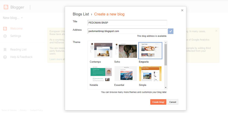 Mulai Membuat Blog Bari di Blogger